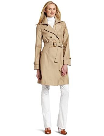 Amazon.com: AK Anne Klein Women's Double Breasted Fashion Trench Coat, Khaki, Medium: Clothing