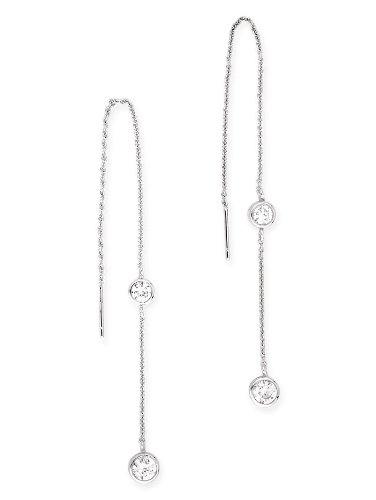 Bezel Set Round C.Z. Diamond .925 Sterling Silver Threader Earrings
