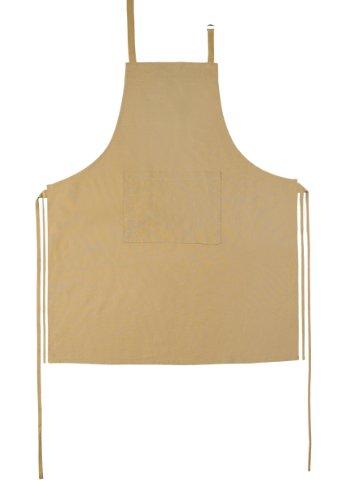 1100-6 Schürze uni mit Tasche, 100% Baumwolle, circa 80 x 85 cm, natur