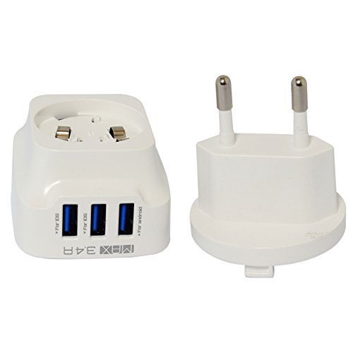 3 Port USB Connector 3.4A Turbo Charging Dual Pin Socket Hub for Apple iPad/iPhone/Samsung/Android Mobiles/Tablets/GPS