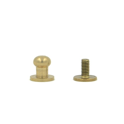 Angelakerry 50pcs 6mm Sam Browne Stud Screw Round Head Solid Brass Rivet Chicago Button Leather