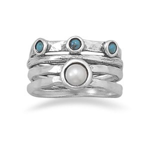 Oxidized Cultured Freshwater Pearl and Turquoise Ring / Size 6