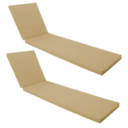 Outdoor Garden Sun Lounger Pad / Cushion 2 Pack in Stone, Comfortable and Lightweight. Great for Indoors and Outdoor Use, Made from High Quality Water Resistant Material.