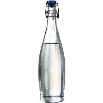 WIN-WARE 1 x Clear Beer Bottle Style Swing Top Glass Water Container. Can be used for all beverages from Beer to Water. Stopper Top Will Keep all Liquids Fresh. 33 ? oz & 12.17 oz (33.75 oz / 1 litre)
