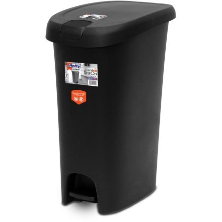 12-Gallon Textured Step On Waste Can with Lid Lock, Black 12.20 x 18.11 x 24.31 Inches (Hefty Garbage Can compare prices)