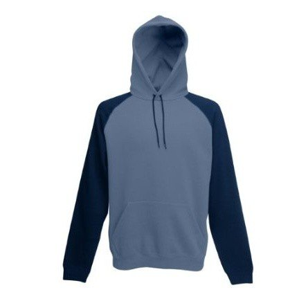 Fruit Of The Loom Mens Baseball Contrast Hooded Sweatshirt / Hoodie (M) (Zinc/Light Graphite)