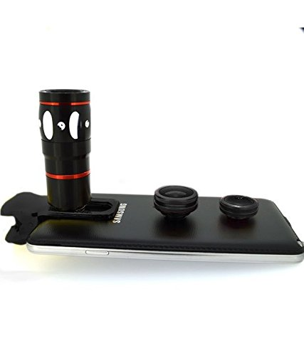 Evana Universal 3 in 1 Cell Phone Camera Lens Kit - Fish Eye Lens / 2 in 1 Macro Lens & Wide Angle Lens (Black)