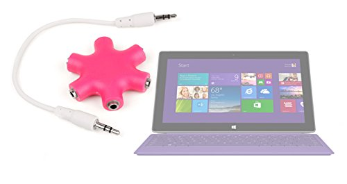"Duragadget Neon Pink 5-Way Headphone Splitter ""Star"" For Microsoft Surface Pro 2"