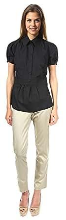 Nife Originelles und sehr modernes Tunikahemd, schwarz, Größe 38