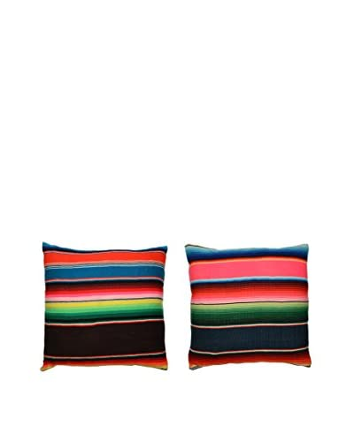 Uptown Down Found Set of 2 Found Mexican Blanket Pillows, Red/White