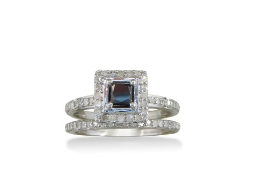 Price Comparisons Sterling Silver Black and White Princess Cut Diamond Pave Bridal Set (1 ct tw) size 6
