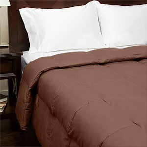 300TC Sateen Down Alternative Comforter , King, Chocolate