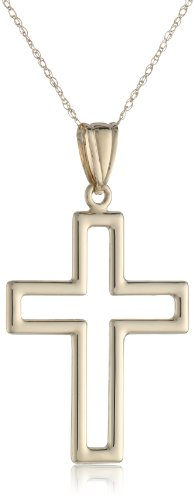 14K Yellow Gold Cut-Out Cross Chain Pendant Necklace, 18""