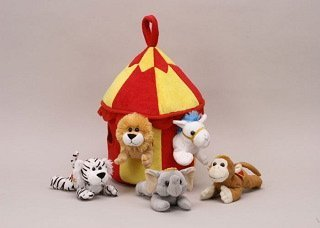 Plush Circus Animal House with Animals – Five (5) Stuffed Circus Animals ( Horse, Monkey, Elephant, Lion, Tiger) in Play Circus Tent House by Unipak Designs (English Manual) günstig kaufen