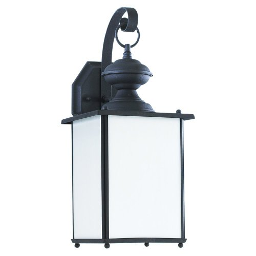 Sea Gull Lighting 84158D-12 1-Light Outdoor Wall Mount, Black Finish with Clear Beveled Glass