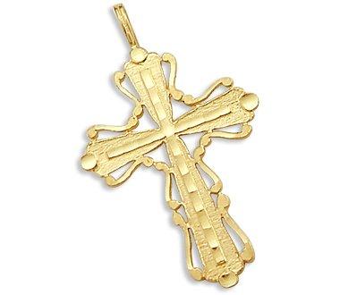 Solid 14k Yellow Gold Pendant Charm Cross Crucifix New