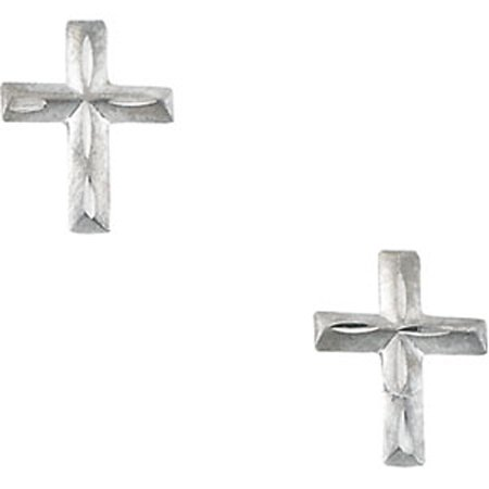 Cross Stud Children Earrings Huggable in 14K White Gold