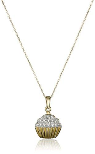 10k Yellow Gold Diamond Accent Cupcake Pendant Necklace