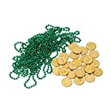 Leprechaun Loot Includes: 12 - Green Party Beads, 25 - Gold (Plastic Coins) Party Accessory (1 count) (37 Pkg)