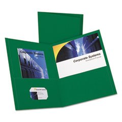 * Twin-Pocket Folder, Embossed Leather Grain Paper, Hunter Green *