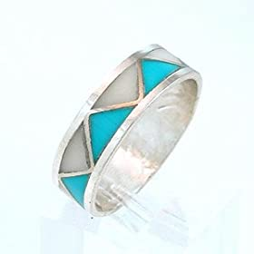 Turquoise and Mother of Pearl Resin Inlay Ring in Sterling Silver, #8476