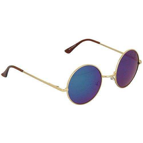 Occhiali da sole in stile John Lennon in differenti colori (Oro - Blu)