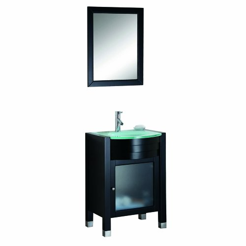 Virtu Usa Ms-545-G-Es Ava 24-Inch Single Sink Bathroom Vanity Set, Tempered Glass Countertop, Espresso Finish