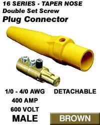 Leviton 16D24-H Single Pole Cam Type Plug Detachable Male Double Set Screw Complete 16 Series Taper Nose 1/0-4/0 Awg 400 Amp - Brown (Pkg Of 10)