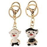 2pcs Crystal Couple Pig Pendant Couples Lovers Keyring Keychain Gifts Black