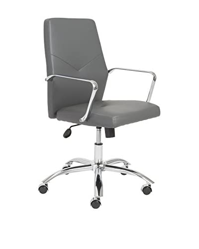 Euro Style Napoleon Low Back Office Chair, Grey