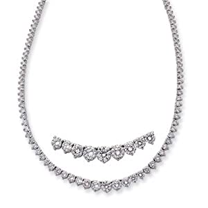 14k White Three Prong 10.96 Ct Rough Diamond Necklace - JewelryWeb