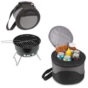 Compact Portable Charcoal BBQ Grill In Cooler Tote