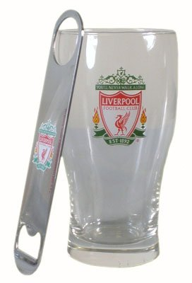 Liverpool FC Pint Glass & Bottle Opener – Football Gifts
