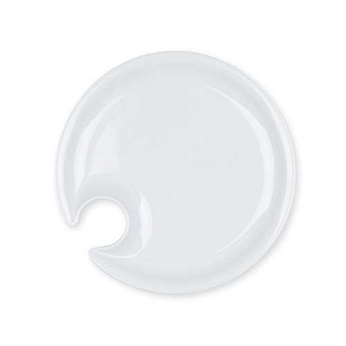 Set of 4 Appetizer Plates with Glass Holder (White) (Appetizer Plates With Wine Holder compare prices)