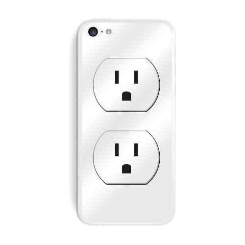 Graphics And More Wall Outlet - Funny Protective Skin Sticker Case For Apple Iphone 5C - Set Of 2 - Non-Retail Packaging - Opaque