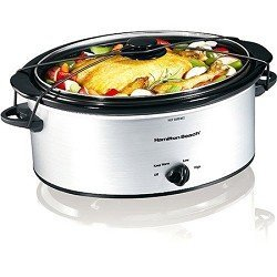 Hamilton Beach 5-Quart Portable Slow Cooker, Silver front-52854
