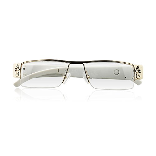 icemoon Spy Camera Eyeglasses Loop Video Recorder Portable Hidden Cam (White)