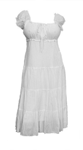 eVogues Plus Size White Cotton Empire Waist SunDress - 1X