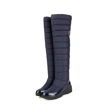 Keilabsatz – Nylon – FRAUEN – Kniehohe Stiefel – Fashion Boots – Stiefel ( Schwarz/Blau ) günstig