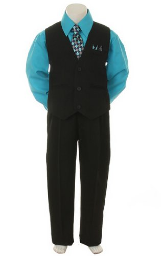 Stylish Dress Suit Outfit Pant,Vest & Tie-Baby Boys thru Size 7-Black/Turquoise