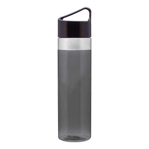 Carry Handle Hydration Bottle W/ Threaded Lid & Stainless Steel Accent - Graphite