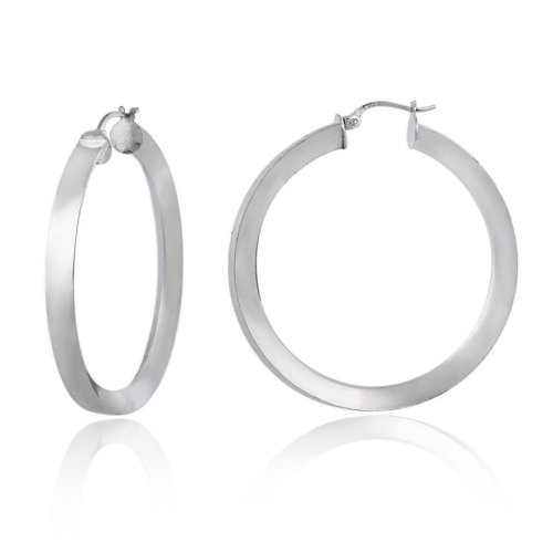 Sterling Silver Polished Reverse Knife-Edge Hoop Earrings (1.0