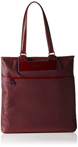 Piquadro Shopping, Collezione Aki, in Pelle e Tessuto, 38 cm, Rosso