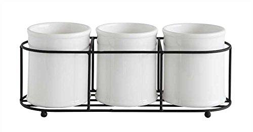 Decorative White Ceramic Crocks in Metal Holder (Metal Crock compare prices)