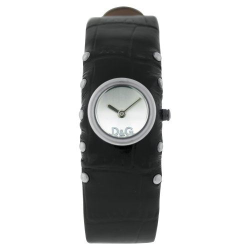 D&G Ladies Cottage Quartz Watch DW0351 With Silver Analogue Dial, Stainless Steel Case And Black Leather Strap