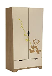 Panda 2 Door Wardrobe in Walnut and Oak