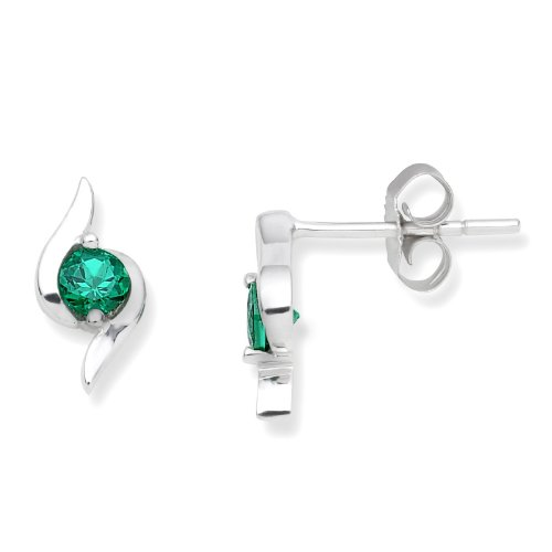 Gold Earrings, 9ct White Gold, Created Emerald Studs, by Miore, UNI004EW
