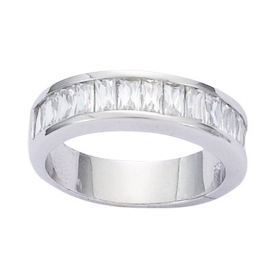 Sterling Silver Clear Cubic Zirconia Half Eternity Wedding Band Ring - Size 8