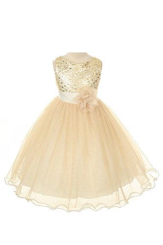 Girl'S Sequin & Glitter Tulle Special Occasion Holiday Pageant Dress - Gold 10 front-921664