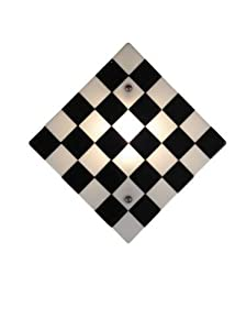 Meyda Tiffany Custom Lighting 82472 My Brother Mario Fused Glass 1-Light Wall Sconce, Nickel Finish with Black and White Fused Art Glass Shade